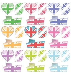 Uk hearts and ribbons vector