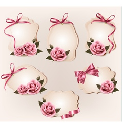 Set of beautiful retro labels with pink rose and vector