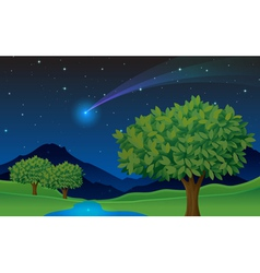 Evening landscape scene vector