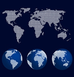 Set of world globes in dot pattern and world map vector