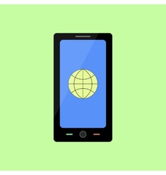 Flat style smart phone with internet icon vector