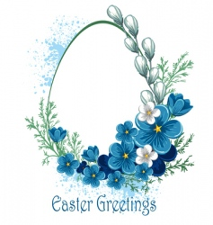 Easter banner with spring flowers vector