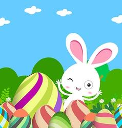 Cute bunny easter eggs vector