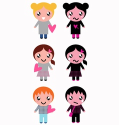 Good and bad kids with hearts isolated on white vector