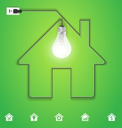 Home icon with creative light bulb vector