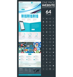 One page website template in flat style with icon vector