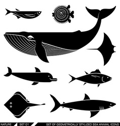 Set of geometrically stylized sea animal icons vector