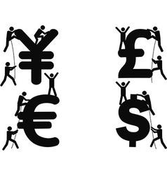 Stick figures climbing money sign vector