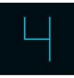 Modern neon number on black background vector