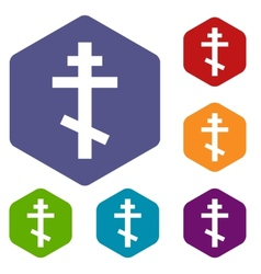 Orthodoxy rhombus icons vector