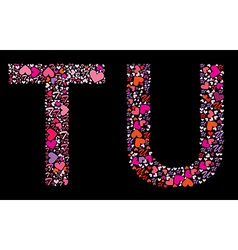 Letter t u valentine alphabet vector