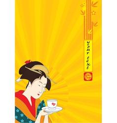 Japanese geisha - traditional art style vector