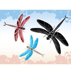 Set of dragonflies vector