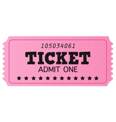 Pink cinema retro ticket isolated on white vector