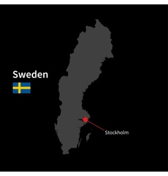 Detailed map of sweden and capital city stockholm vector