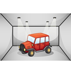 A red jeep inside the garage vector