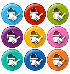 Round buttons with a toy pail and fork vector