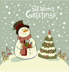 Snowman with gifts beside christmas tree vector