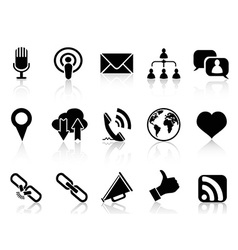 Black social communication icons set vector