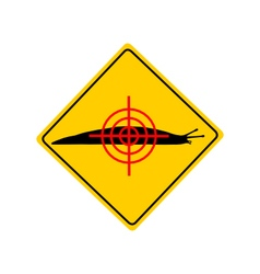 Aim at slugs warning sign vector