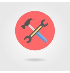 Wrench and hammer in circle with shadow vector
