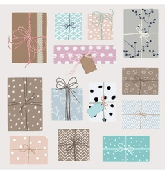 Set with gift boxes in crafting pape vector