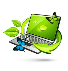Green laptop vector