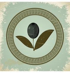 Vintage olive branch icon vector