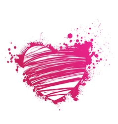 Pink heart grunge vector