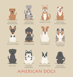 Set of american dogs vector
