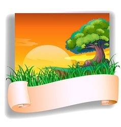 A field with a sunset view and an empty template vector