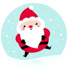 Kawaii christmas santa on snowing background vector