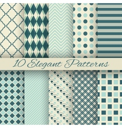10 elegant seamless patterns tiling vector