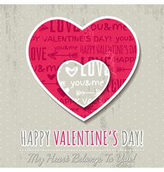Background with two valentine hearts vector