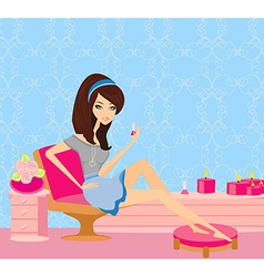 Girl painting nails vector