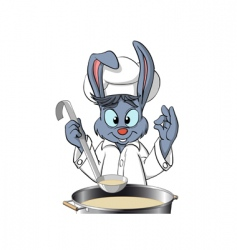 Bunny chef cooking the soup vector