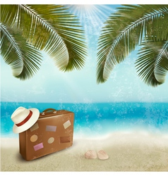 Vintage beautiful seaside background with suitcase vector