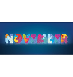 November written with alphabet puzzle vector