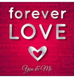 Valentines day greeting card with silver text vector