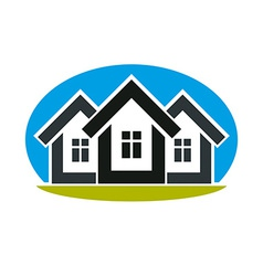 District conceptual - three simple houses houses vector