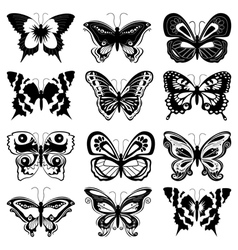 Set of butterfly silhouettes vector