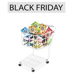 Computer hardware in black friday shopping cart vector