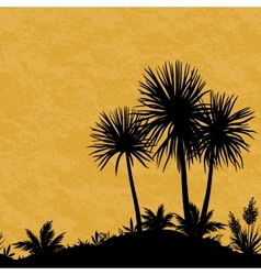 Seamless landscape palms and plants silhouettes vector