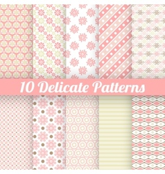 10 delicate lovely seamless patterns tiling vector