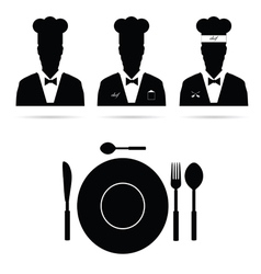 Chef cook man silhouette vector