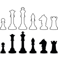Chessmen black and white contours vector