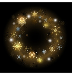 Golden snowflakes on a black background vector