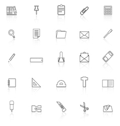 Stationery line icons with reflect on white vector