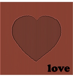 Valentine red heart cardboard cut out vector