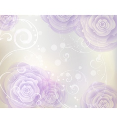 Pastel colored background with purple roses vector